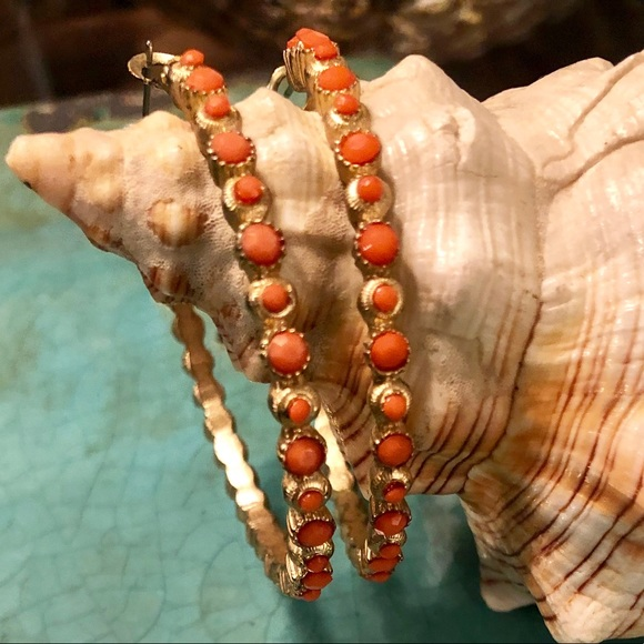 Jewelry - Coral hoop earrings